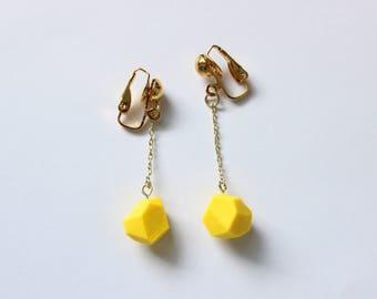 Yellow Gemstone Earrings, Clip on Earrings, Dangle Earrings, Everyday Jewelry