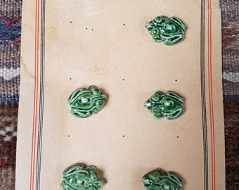 A vintage card of five charming little ceramic frogs. c1940s/50s.