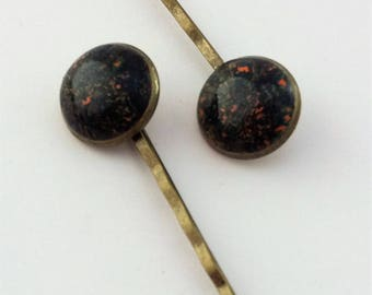 HP-015 Polymer clay bobby pin set of 2 – Carnival Abstract