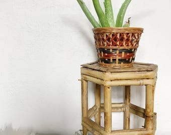 Woven Rattan Bamboo Planter Indoor Stand, Bamboo Furniture
