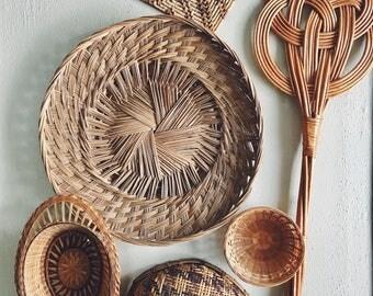 vintage rattan rug beater / wall decor / basket wall