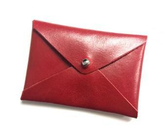 LEATHER CARD HOLDER - Envelope card case, Leather card case, Leather card wallet, Leather small pouch, Card holder - Red vegan leather