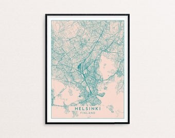 Helsinki Blush Pink City Map Print, Clean Contemporary poster fit for Ikea frame 50x70cm, gift art him her, Anniversary personalized