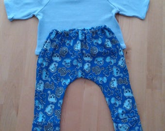 Elastic cotton legging or mesh, various models, fist termination, handmade baby garment