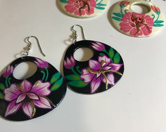 Floral Hawaiian Aloha Handpainted Earrings - Vintage