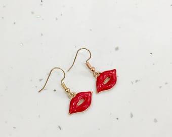 Red Lips Hook/Dangly Earrings