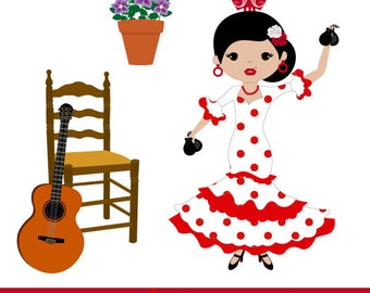Flamenco dancers with castanets, polka dot fans, Spanish guitar, flamenco dresses, Sevillian accessories, ClipArt Flamenco dancers