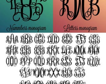 Interlocking Vine Monogram Font SVG, Vine Monogram Font Cut files, Interlocking monogram, Svg files for Silhouette, Cricut,