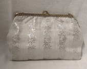 1960s Silver  White Evening Bag