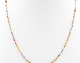 Tri Link Chain, Chains, Tricolor chains, 14k Gold chains, 14k Gold Tricolor chains, Link Chains, Necklaces, 14K Gold necklaces, 14K Chains