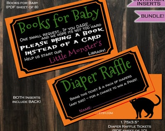 Diaper Raffle + Books for Baby Invitation Inserts Spooky Ghoul Party Invite Insert - Halloween theme decoration- Printable INSTANT DOWNLOAD