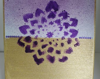 Wall Art 8x10 Handmade Mixed Media Canvas Purple and Gold Flower