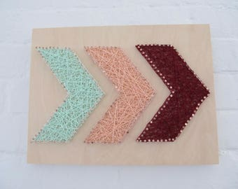 SALE: Chevron String Art - Mint, Peach, and Burgundy