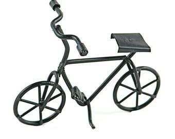 "Bicycle with Kickstand Black, 3"" x 2"" - Metal - Miniature Fairy Garden Dollhouse"