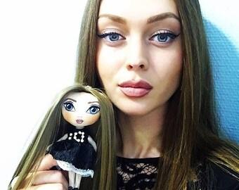 Handmade Charm Doll Rag dolls Cloth dolls Fabric Dolls Soft Toys Charm Dolls Bag charms KeyChain dolls Ooak art dolls