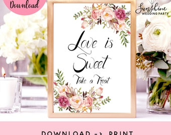 Love Is Sweet Take A Treat, Love Is Sweet Sign, Favor Table Sign, Bridal Shower Sign, Wedding Favors Sign, Treat Printable, Marsala Print