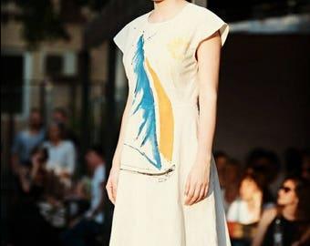 Beautiful handpainted dress- eco materials- summer fashion