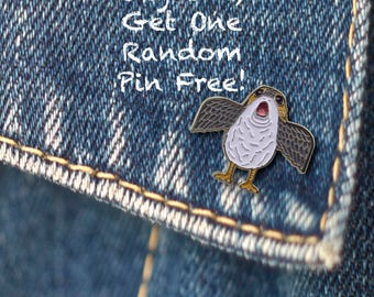 BUY 1, GET 1 Random Pin Free! Star Wars Porg Flapping Wings Enamel Pin Star Wars Lapel Pin Badge Cute Pin Soft Enamel Pin Pop Culture Pin