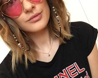 Necklace / Bracelet for sunglasses from black beads + skull + star summer 2017