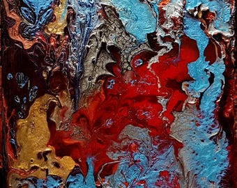 Underwater #3, mixed media on wood panel ( 16cm x 40cm)