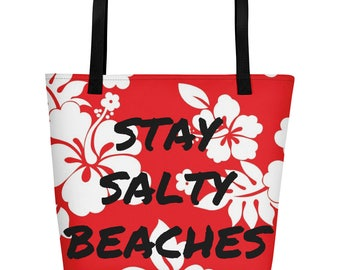 Stay Salty Beaches Floral Red Hibiscus Beach Bag