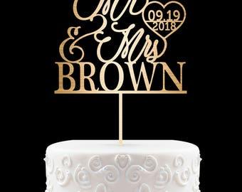Wedding Cake Topper Custom Cake Toppers Personalized Cake Topper for Wedding, Miss to Mrs Cake Topper ideas Date Cake Topper 14