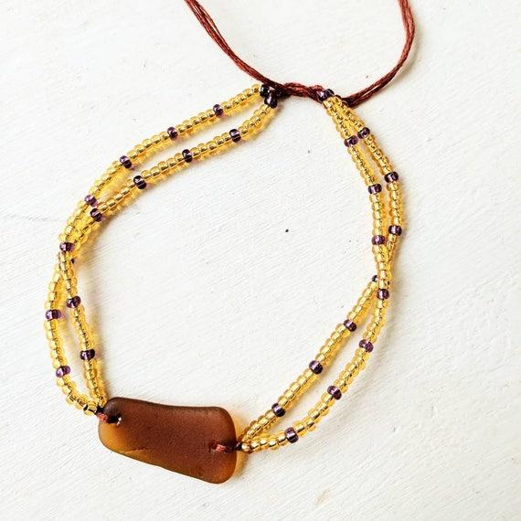 Sea Glass Anklet // Amber Brown Vintage Glass // Beaded Anklet Bracelet // Gold & Purple // The Joni Anklet
