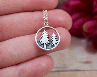 Sterling Silver Pine Tree Charm - Pine Tree Pendant - Mountain Charm - Mountain Pendant - Make Your Own Charm Necklace