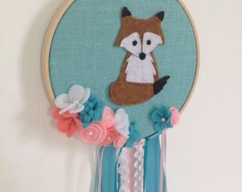 Wall decoration with fox, embrodery hoop and fox, fox dreamcatcher