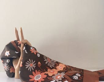 Vintage Long Brown and Peach Floral Scarf / Retro Floral Bandana