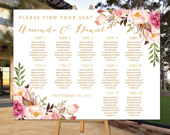 Wedding seating chart template, Boho wedding seating chart, Printable wedding seating chart, Alphabet seating chart, Find Your Seat, SC27
