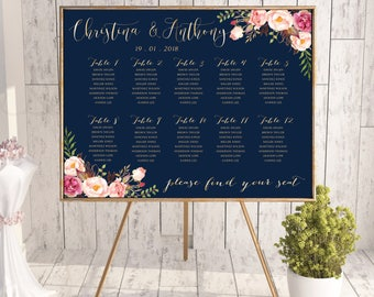 Wedding Seating Chart, Wedding seating template, Navy seating chart, Seating chart, seating chart poster, seating chart alphabet, #127-b