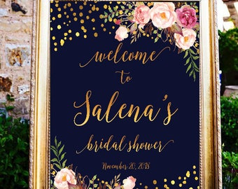 Bridal shower welcome sign, Printable Bridal Shower Sign, Navy and Gold Floral Shower, Wedding welcome sign, Bridal shower sign, #12