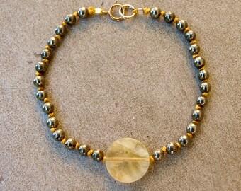 Pyrite and prehnite beaded bracelet
