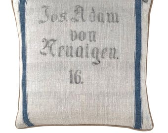 "Antique Austrian Grain Sack Pillow from the 1800s  -  24"" x 24"""