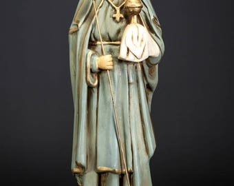 "13"" Saint Juliana of Liege Antique Plaster Statue St Mont-Cornillon Figure"