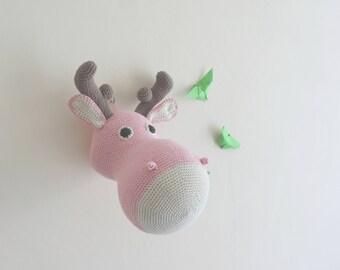 Trophée elan, cerf renne decoration chambre enfant, fait main, cadeau anniversaire, cadeau naissance fausse taxidermie, trophée animal