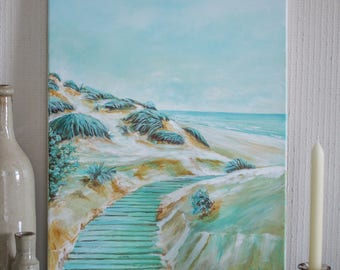 Painting of a dune landscape on a seafront