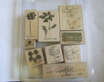 Free Ship~Stampin' Up  Sets Heartfelt Thanks Used Stamps