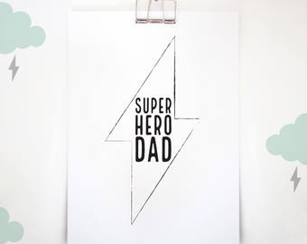 Father's Day Gift, Gift for Him, Father's Day Print, Cool Gift for Dad, Superhero Dad, Father Birthday Gift, Wall Art, A4 A3 Print