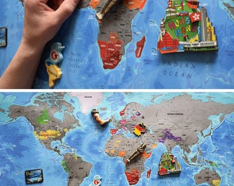 Scratchable Map - Detailed XXL Scratch Off Map; USA Divided Into States; World Map Poster; Vibrant Colours; scratch-off map;