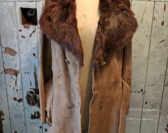 Stunning 1970's/1980's Stephen Dattner suede coat jacket with fur collar