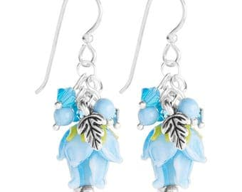 Earrings Kit Rosebuds with Swarovski Crystals - Blue