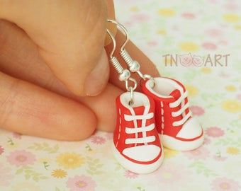 Cute Tiny Sneakers Earrings handmade polymer clay jewelry red white color miniature