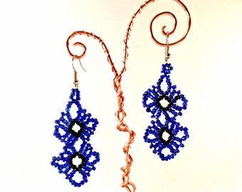 Handmade Beaded Flower Earrings - Black and Midnight Blue Seed Beads - Bohemian - Silver Earrings