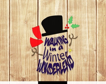 Snowman SVG PNG Snowman Walking in a Winter Wonderland digital dowland winter holiday cricut cut file vinyl HTV boy girl merry christmas