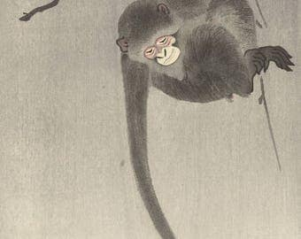 "Japanese Art Print ""Monkey Reaching for the Moon"" by Ohara Koson, woodblock print reproduction, fine art, asian art, cultural art, tranquil"