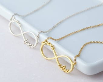 Infinity Double Name Necklace - - Silver Infinity Necklace - Sister Necklace - Friendship Necklace - Best friend Necklace