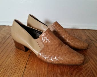 enzo angiolini vintage tan heels, vintage leather heels woven leather shoe, 1980s kitten heel, vintage woven leather heels, womens 6