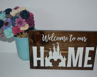 CUSTOM MADE Welcome to our Home Disney Castle Wood Sign
